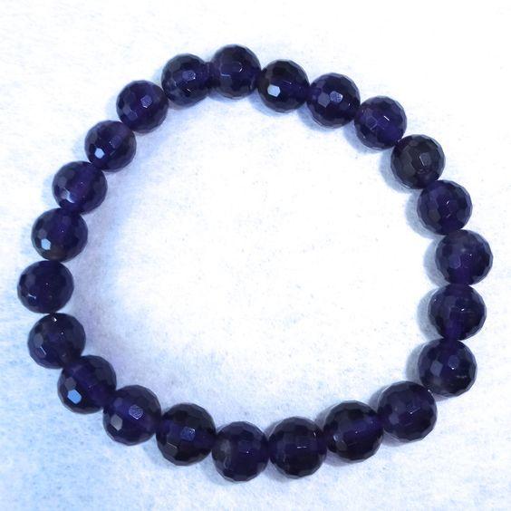 :-) Amethyst beaded bracelet for sale :-) HappyFace313 :-)