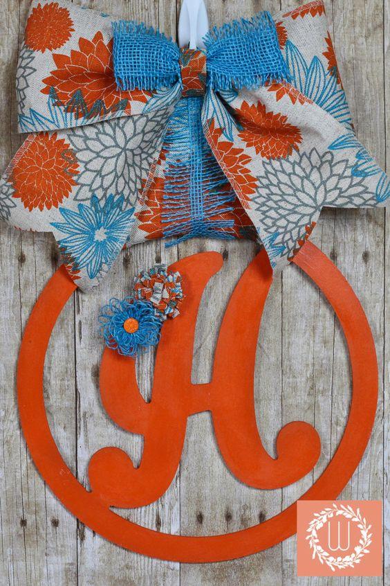 Monogram, Burlap Initial, Orange Teal Monogram, Last Name Wreath, Letter for…