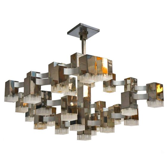 Large Cubist Chandelier By Gaetano Sciolari Furniture