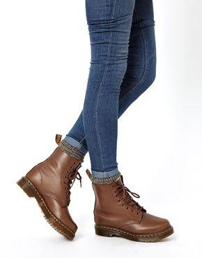 Image 3 of Dr Martens Serena Brown Sheepskin 8-Eye Boots