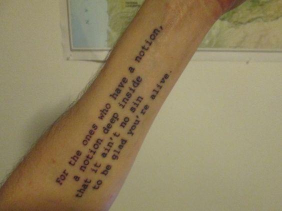 By Mikel at Old School Tattoo, Bellingham, WA. (Lyrics ...