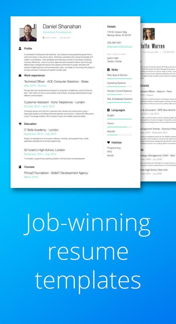 Job Winning Resume Templates Resume Builder Templates Online Resume Resume Templates Online Resume Builder