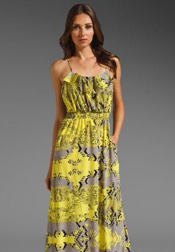 Jay Godfrey Duke Maxi with Ruffled Neckline in Yellow Multi Print
