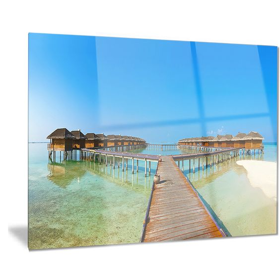 Designart 'Bungalows in Maldives Island' Landscape Photo