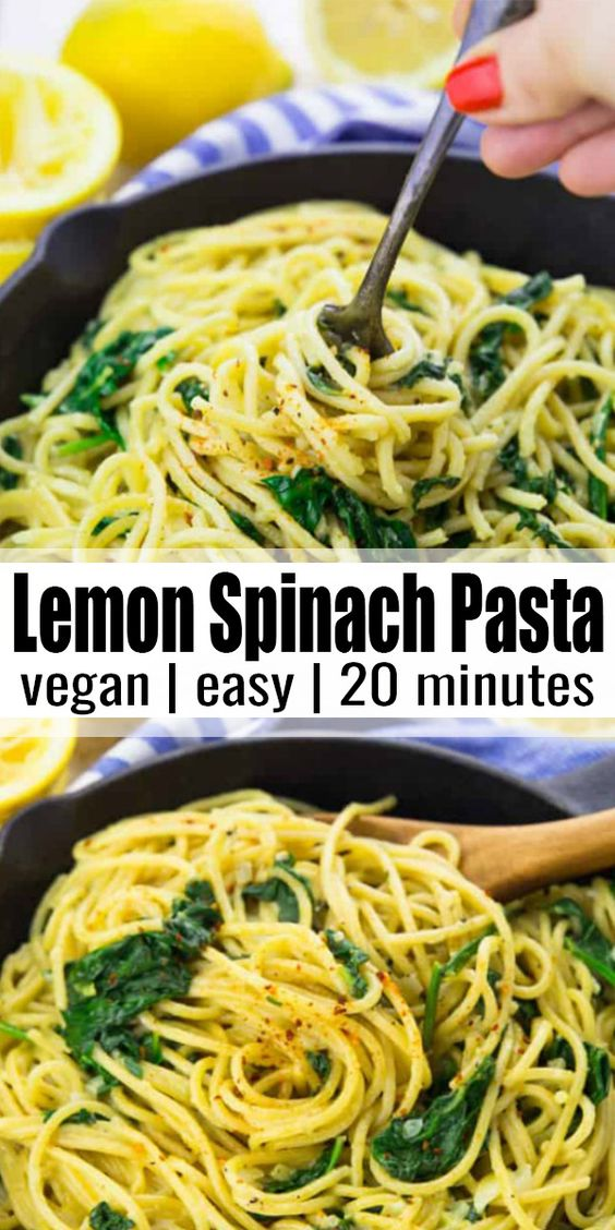 These vegan lemon spaghetti with spinach are the perfect recipe for busy weeknights! It's a one pot meal and it's super delicious and comforting. It's one of my favorite vegan dinner recipes. Find more vegan recipes at veganheaven.org! #vegan #veganrecipes