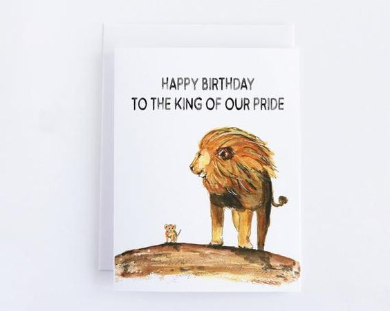 Dad Birthday Card Lion King With Cubs Personalized Husband Birthday Card Husband Birthday Card Dad Birthday Card Dad Birthday
