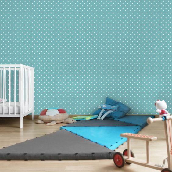 kindertapeten - vliestapeten - no.yk55 weiße #punkte auf türkis ... - Kinderzimmer Blau Turkis