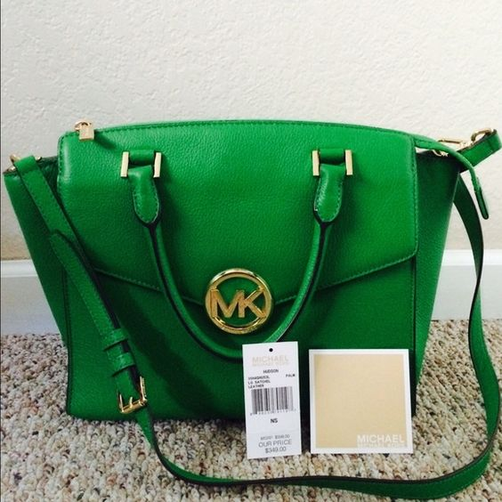 Michael Kors Large Hudson Satchel Brand New MK Bag / Palm Green Michael Kors Bags Satchels