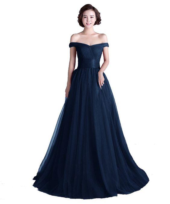 Tivansi Women's Long Tulle Boat Neck Prom Formal Evening Dresses | Amazon.com