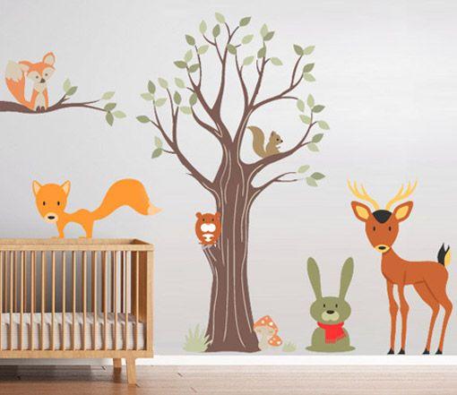 Infantil - Animais do Bosque - Decoração em vinil Autocolante decorativo e Papel de parede