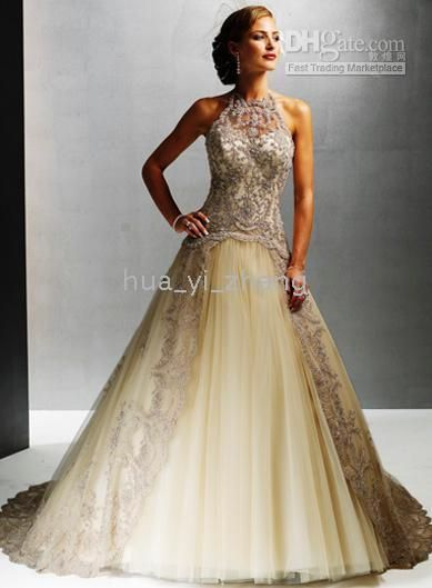 I like that this one has the different color lace, it adds to the dress.  Wholesale Vintage A Line High Neck Champagne Embroidery Lace Winter Wedding Dresses Gowns MS11110, $162.4-168.0/Piece | DHgate