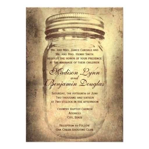 Mason Jar Rustic Country Distressed Brown Wedding Invitations.  40% OFF with 100+ Invites.