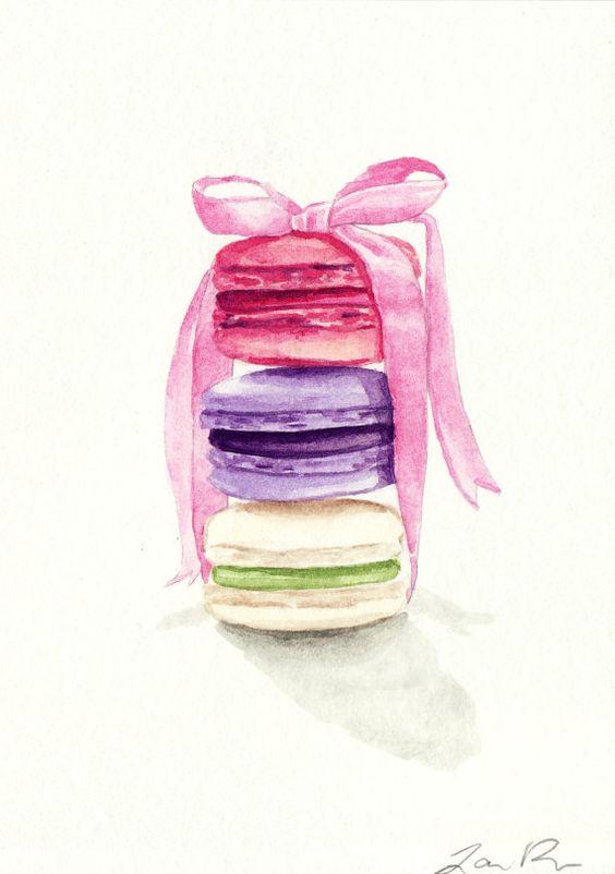 SALE Macarons Tied with a Pink Bow ORIGINAL von LauraRowStudio