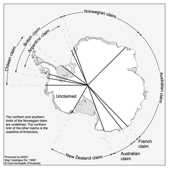 Antarctic territorial claims: Chilean, British, Argentine, Norwegian, Australian, French, New Zealand
