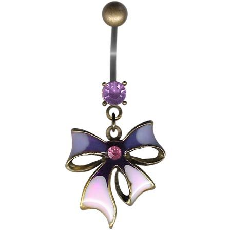 Pink & Purple Bow Bellybutton Ring
