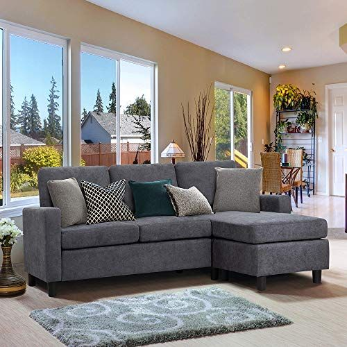 New Walsunny Convertible Sectional Sofa Couch Reversible Chaise L Shaped Couch Modern Linen Fabric Small Space Dark Grey Update Version Online Findtopb In 2020 Sectional Sofa Couch Small Sectional Sofa L Shaped