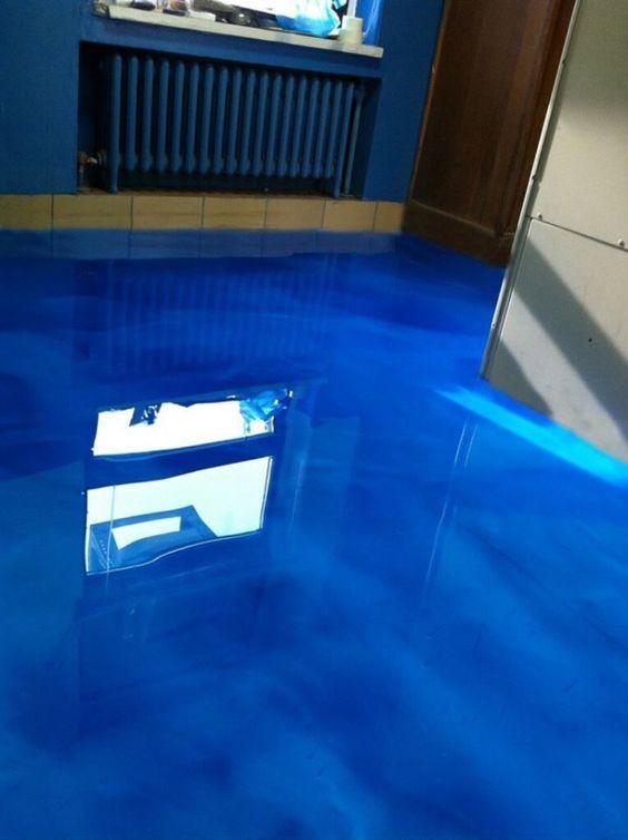 Metallic Epoxy Flooring That Looks Like Water At The