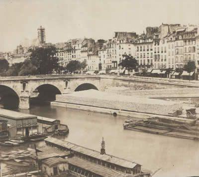Charles Nègre    Vu de L'etage du 21 Quai Bourbon    Pont Louis-Phillipe, et la Seine, Paris.