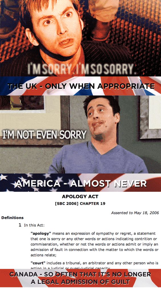 How often we say we're sorry: | 19 Things America, Canada, And The U.K. Cannot Agree On
