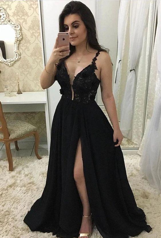 Vestido de formatura preto fabuloso