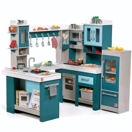 Step2 Grand Walk In Wood Play Kitchen With 15 Piece Accessory Play Set Walmart Com Diy Play Kitchen Kitchen Sets For Kids Play Kitchen Sets