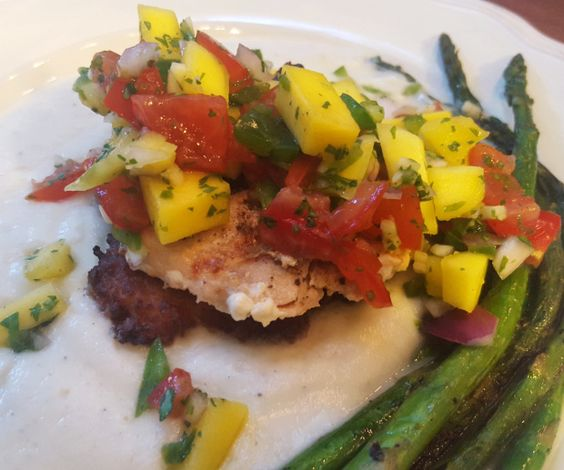 Salmon Burger on Potato Cake, with Cauliflower Puree, Mango Salsa, and Charred Asparagus