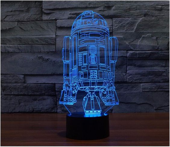 Creative Star Wars R2 D2 3d Led Light Lamp Illuminates In 7 Colors Press The Button To Change The Colors 7 3d Led Night Light Star Wars Lamp 3d Led Light