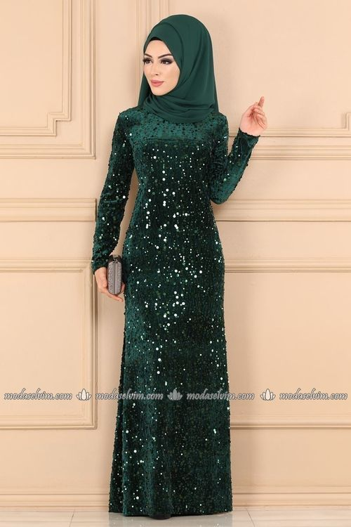 Modaselvim Abiye Pul Payetli Tesettur Abiye Elbise Pl6016 Zumrut Hijab Style Dress Hijab Fashion Fashion