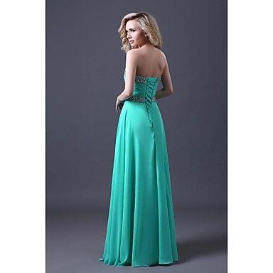 uma linha querida assoalho-comprimento chiffon vestido de baile es012 – BRL R$ 205,17