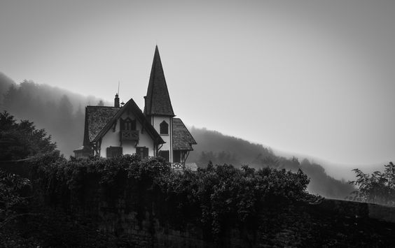 In the fog - House above Como lake in Italy.