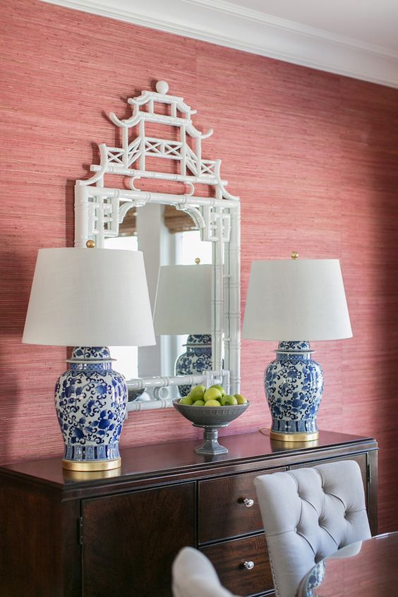 grasscloth BLUE AND WHITE LAMPS AND WHITE CHINOISSERIE MIRROR: