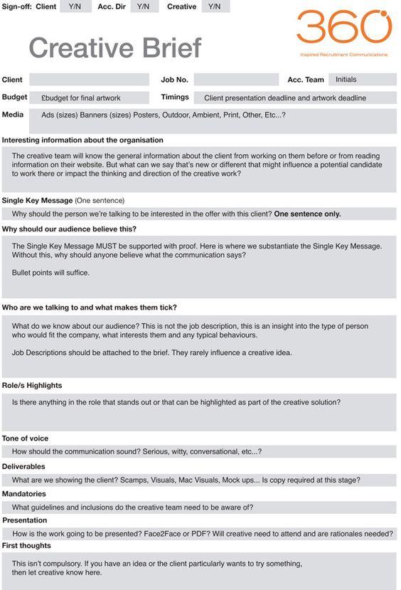 marketing campaign brief template - 360 creative work info good reads pinterest