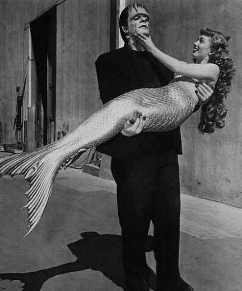 Ann Blyth and Glenn strange on the studio lot in 1948.: Frankenstein Mermaid, Vintage Photo, Frankenstein S Monster, Classic Monster
