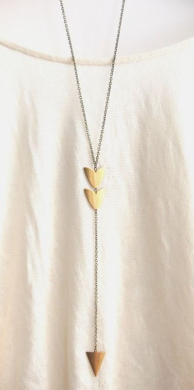 Long Arrow Brass Pendant Necklace: