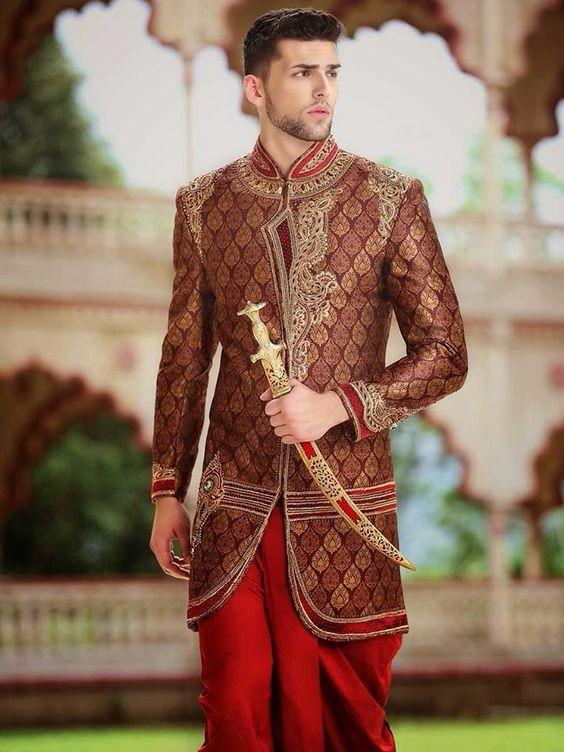 Heavy Brocade Men's wedding Sherwani