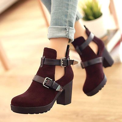 Details about Womens Cut out Boots Ankle Chunky Flat Low Mid High
