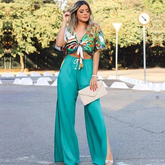 Calça Pantalona com Fenda Verde | Victoria's Fashion Store