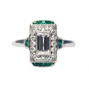 so so so so so perfect.  vintage art deco diamond and emerald ring