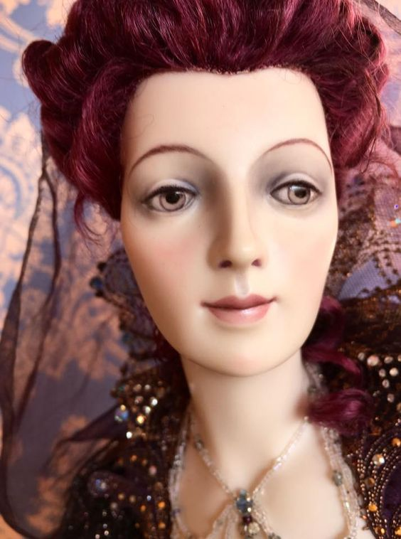 Fairy God Mother Biscuit porcelain, chiffon, beads, mohair. Hand embroidery in gold threads. AppliquО' work by elements of a lace. The dress is decorated with more than 1500 imitation stones.
