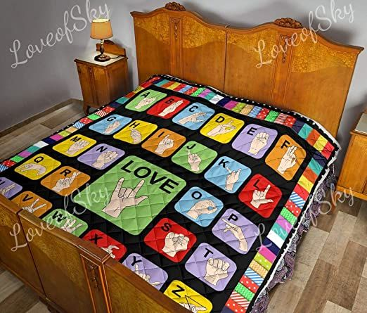 Loveofsky Signs That Describe Language By Hand Quilt Throw Size Pattern Blanket All Season Quilts Comforters With Cotton Kin In 2020 Quilt Blanket Quilts Throw Quilt