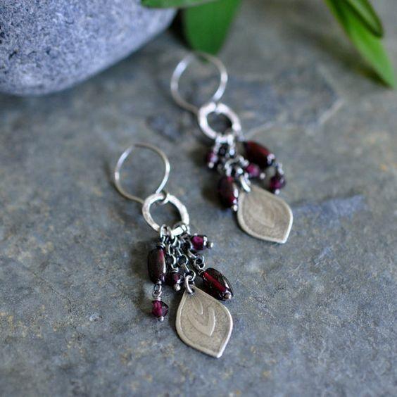 Sterling Garnet Earrings, Sterling Silver Metalwork earrings, Oxidised Gemstone Dangly Earrings - Flourish Earrings in Garnet Swinging freely