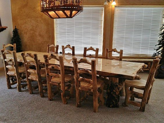 11 Ft Aspen Log Dining Table With Matching Chairs Rustic Furniture Rusticdecor Large Rustic Dining Table Rustic Dining Room Sets Wood Dining Table Rustic
