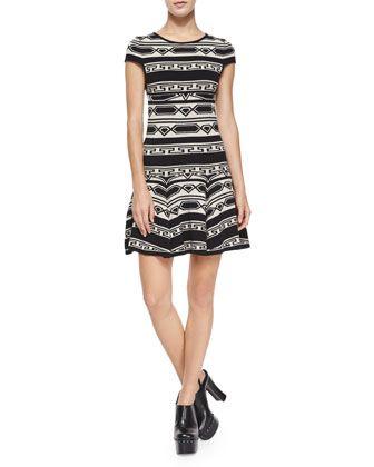 Darby Drop-Waist Geo-Knit Dress by Alice + Olivia at Neiman Marcus.