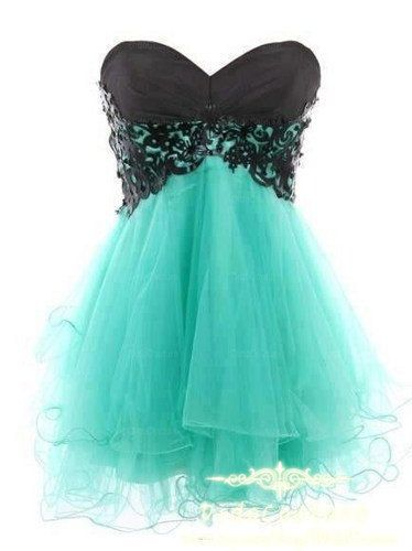 Custom Made Black Turquoise Short Dress-Sweetheart Homecoming ...