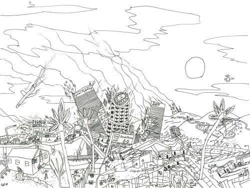 Account Suspended Drawing Prints Cityscape Ink Drawing