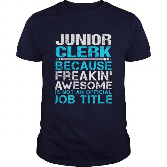 JUNIOR CLERK T Shirts, Hoodies. Get it now ==► https://www.sunfrog.com/LifeStyle/JUNIOR-CLERK-Navy-Blue-Guys.html?41382