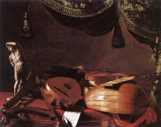 Still-Life with Musical Instruments and a Small Classical Statue - Evaristo Baschenis (1645)