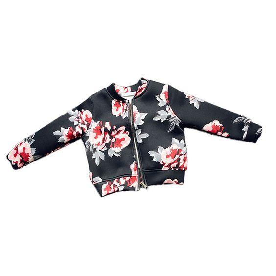 Girls Coat Baby Autumn Winter Long Sleeve Flower Jacket Children Clothes Kids…
