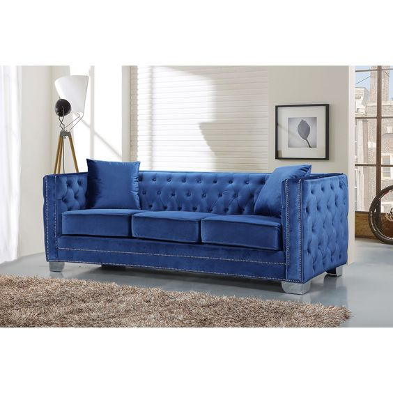 Elegant and eye-catching, the stunning Reese Living Room from Meridian Furniture is the perfect addition to any space. Rich Velvet covers the plush, comfortable seat, padded with high-density foam and modern tufted design on the back and sides.