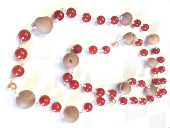 Red Agate and Druzy Wire Wrap Necklace | Rosary Style Necklace by GinnyTaylorDesigns on Etsy